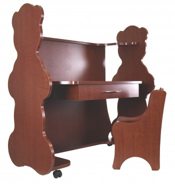 Mobile Height-Adjustable Desk Bear Cherry  with Chair