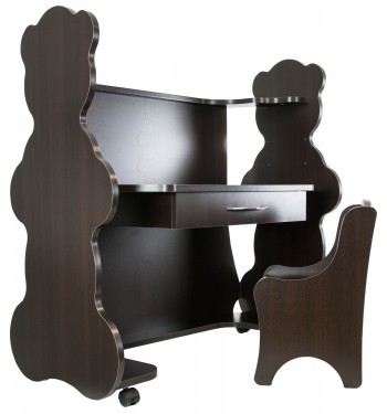 Mobile Height-Adjustable Desk Bear Espresso Wenge with Chair