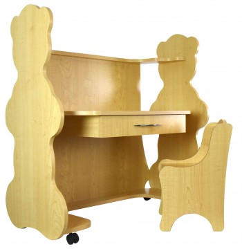 Mobile Height-Adjustable Desk Bear Natural Maple  with Chair