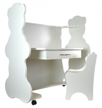Mobile Height-Adjustable Desk Bear White with Chair