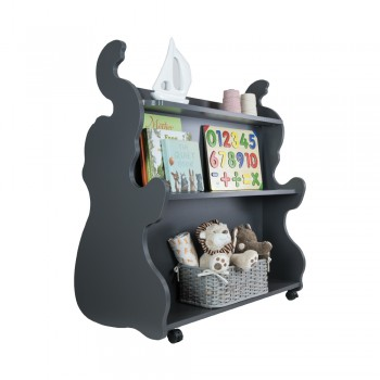Mobile Double Sided Bookcase Elephant Grey