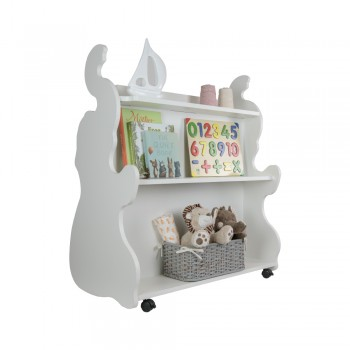 Mobile Double Sided Bookcase Elephant White