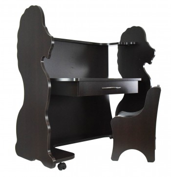 Mobile Height-Adjustable Desk Lion Espresso Wenge with Chair