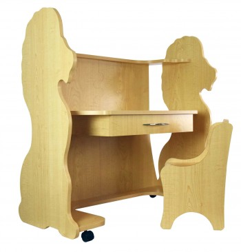Mobile Height-Adjustable Desk Lion Natural Maple with Chair