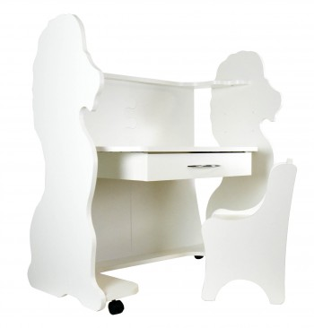 Mobile Height-Adjustable Desk Lion White with Chair