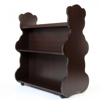 Mobile Double Sided Bookcase Bear Espresso Wenge