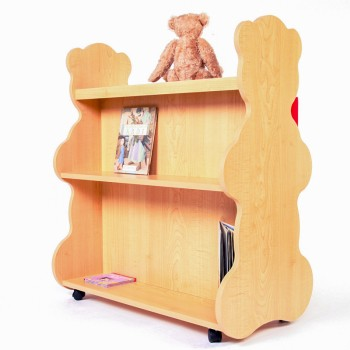 Mobile Double Sided Bookcase Bear Natural Maple