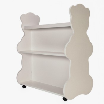 Mobile Double Sided Bookcase Bear White