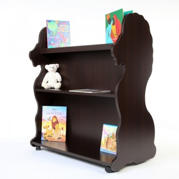 Mobile Double Sided Bookcase Lion Espresso Wenge
