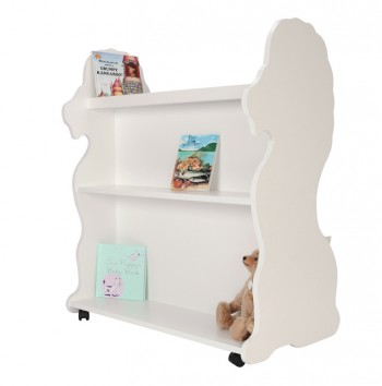 Mobile Double Sided Bookcase Lion White