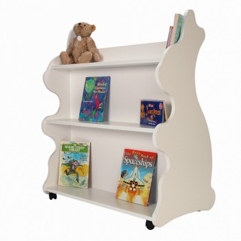 Mobile Double Sided Bookcase Rabbit White