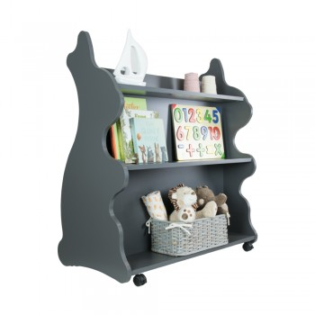 Mobile Double Sided Bookcase Rabbit Grey