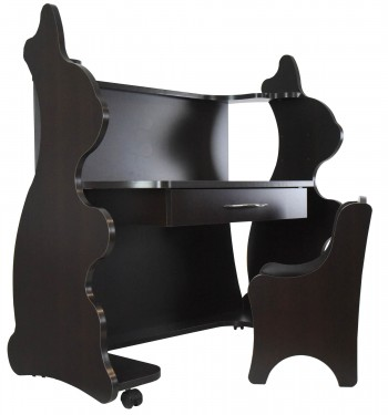 Mobile Height-Adjustable Desk Rabbit Espresso Wenge with Chair