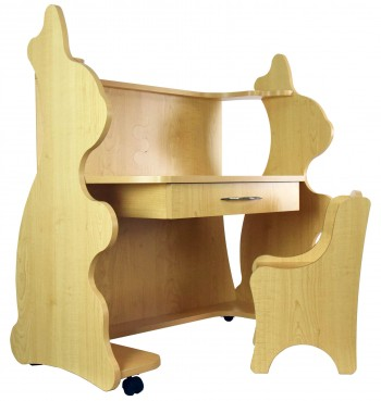 Mobile Height-Adjustable Desk Rabbit Natural Maple with Chair
