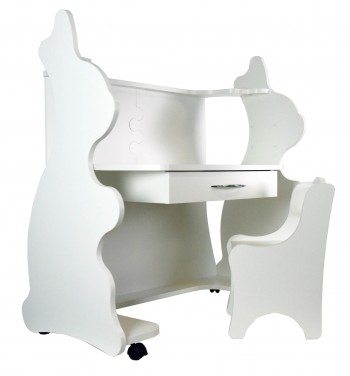 Mobile Height-Adjustable Desk Rabbit White  with Chair